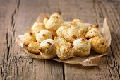 Group Of Sweet Coconut Cookies On Old Wooden Background Horizontal Tasty Coconut Dessert Homemade Co poster