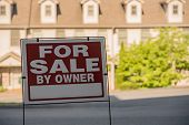 Blank For Sale By Owner Sign In Front Of A Row Of Town Houses Or Homes In The Usa poster