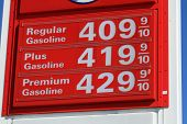 stock photo of high-octane  - Over four dollar a gallon gas prices in America - JPG