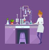 Researcher Chemical Laboratory, Female Scientist, Conducts Chemical Research, Experiments. poster