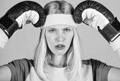 Girl Boxing Gloves Tired To Fight. Strong Woman Suffer Pain. Girl Painful Face Embrace Head With Box poster
