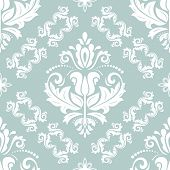 Classic Seamless Vector Pattern. Damask Orient White Ornament. Classic Vintage Background. Orient Or poster