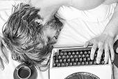 Author Tousled Hair Fall Asleep While Write Book. Workaholic Fall Asleep. Man With Typewriter Sleep. poster