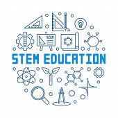 Stem Education Vector Blue Concept Outline Round Illustration On White Background poster