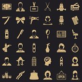 Hair Style Icons Set. Simple Style Of 36 Hair Style Vector Icons For Web For Any Design poster
