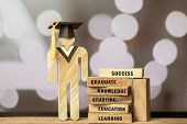 People Sign Wood With Graduation Celebrating Cap On Wooden Square Blocks Tower Blur Bokeh. Spelled O poster