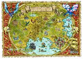 Watercolor Pirate Map Of Fantasy World With Dragons. Hand Drawn Graphic Illustration Of World Atlas  poster