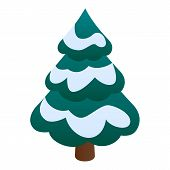 Fir Tree With Snow Icon. Isometric Of Fir Tree With Snow Vector Icon For Web Design Isolated On Whit poster