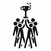 People Cooperation Win The Cup Icon. Simple Illustration Of People Cooperation Win The Cup Vector Ic poster