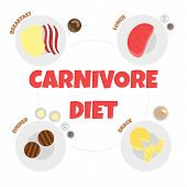 Vector Illustration Of Menu Of Carnivore Diet. Healthy Nutrition Concept For Meat Lovers. Great For  poster