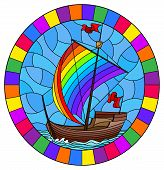 Illustration In Stained Glass Style With An Old Ship Sailing With Rainbow Sails Against The Sea,  Ov poster