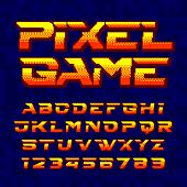 Pixel Game Alphabet Font. Digital Pixel Gradient Letters And Numbers. 80s Retro Arcade Video Game Ty poster