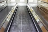 Automatic Walkway Flat Escalator In Shopping Mall Airport Or Modern Business Building Indoors - Movi poster