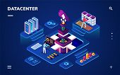 Data Center Or Centre With Hardware Or Software Engineers. Isometric Room With People Working With B poster
