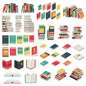 Flat Books Set. Book School Library Publishing Dictionary Textbook Magazine Open Closed Page Studyin poster