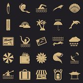 Surfing Icons Set. Simple Set Of 25 Surfing Vector Icons For Web For Any Design poster