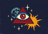 Vector Vintage Illustration Of A Pyramid With The Eye, The Moon, Sun And Stars. Retro Poster With Py poster