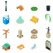 Park Stuff Icons Set. Isometric Set Of 16 Park Stuff Vector Icons For Web Isolated On White Backgrou poster