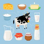 Cow And Dairy Products. Milk Product Products Around Cow, Cheese Slab And Yogurt Bottle, Fresh Cream poster
