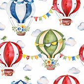 Lovely Circus Pattern.seamless Texture With Cute Air Balloons,bouquets,garlands,fluffy Clouds And Mo poster