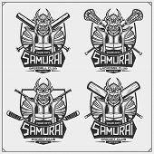 Cricket, Baseball, Lacrosse And Hockey Logos And Labels. Sport Club Emblems With Samurai. Print Desi poster