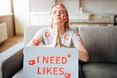 Young Woman Has Social Media Addiction. Addictiveness From Smartphones. Model Begging For Likes. Ins poster