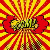 Cartoon, Boom Explosion Comic Speech Bubble. Comic Book Page poster