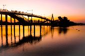 People Silhouettes Watching Colorful Sunset Bridge Sunset River Bridge People Silhouette Admire Silh poster