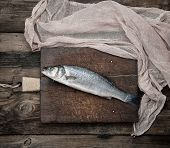 Fresh Whole Sea Bass Fish On Brown Cutting Board , Top View poster