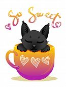 Cute Cat In Cup Violet Color Vector Illustration. Black Kitty With Handwritten Glitter Lettering. Gi poster
