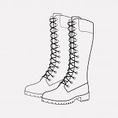 Timberland Boots Icon Line Element.  Illustration Of Timberland Boots Icon Line Isolated On Clean Ba poster