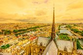 Panoramic Aerial View Of The Spire Of Notre Dame Cathedral With Statues, In Paris City Capital Of Fr poster