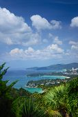 Western coastline of Phuket island (beaches from closest: Kata Noi, Kata, Karon), Andaman sea, Thail