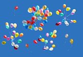 image of blue sky  - Many color balloons isolated on blue sky - JPG