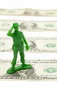 One Dollar Bill And Military Toy