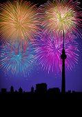 Happy New Year Fireworks Germany Landmark poster
