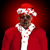 picture of festering  - A Zombie father Christmas covered in blood - JPG