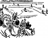 Take Me Out To The Ball Game - Retro Clipart Illustration