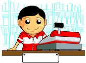 picture of cashiers  - A vector image of a male cashier employee standing behind the cashier machine - JPG