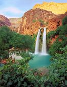 stock photo of grand canyon  - a double waterfall in the grand canyon in arizona - JPG