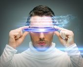 Постер, плакат: future technology and science fiction concept man with digital glasses