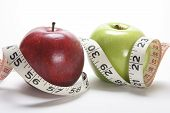 picture of tape-measure  - Close Up of Apples and Tape Measure - JPG