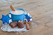 stock photo of chocolate muffin  - Hot chocolate little chocolate cakes for christmas - JPG