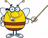 Pudgy Bee Cartoon Character With Glasses Holding A Pointer