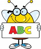 Smiling Pudgy Bee Cartoon Character Holding A Banner With Text ABC