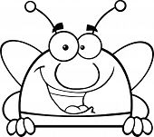 Black And White Pudgy Bee Character Over Blank Sign