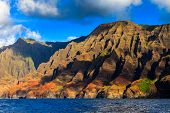 pic of pacific islands  - Rugged hills at the dramatic Na Pali coast of Kauai Hawaii Islands - JPG