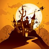 stock photo of vampire bat  - Halloween Castle - JPG