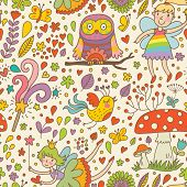 stock photo of fairy-mushroom  - Bright childish seamless pattern with Fairies - JPG