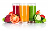 stock photo of juices  - Fresh vegetable smoothie isolated on white background - JPG